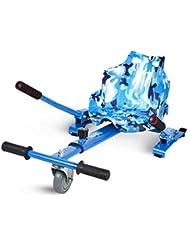 ECOXTREM Hoverkart, Asiento Kart, Azul diseño Militar, con manillares Laterales, Barra Ajustable
