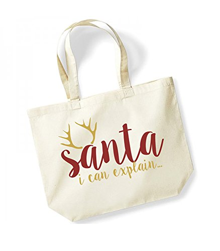 Santa, I Can Explain�?- Large Canvas Fun Slogan Tote Bag Natural/Black