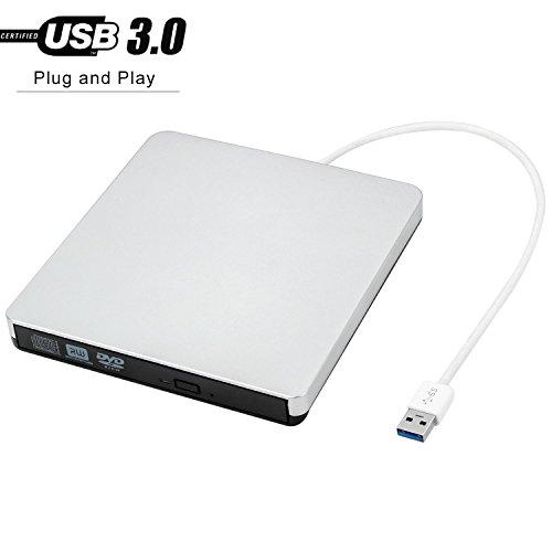 Powerlead Lecteur de CD-ROM externe USB 3.0 graveur Lecteur de transfert de données à grande vitesse pour ordinateur portable / ordinateur de bureau / Macbook / Mac OS / Windows10 / 8/7 / XP / Vista (Argent)