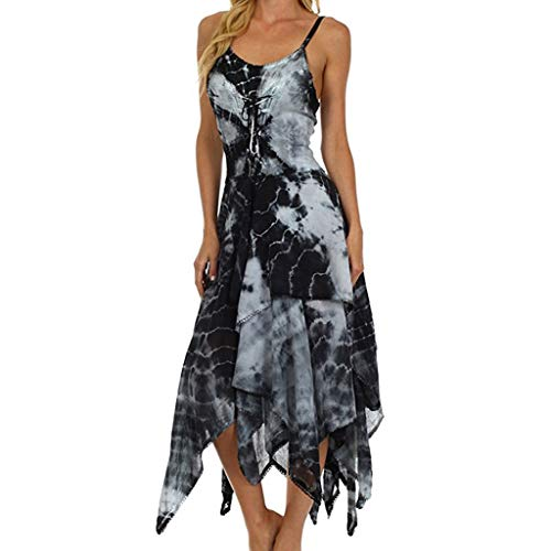 Yvelands Mode Kleid Unregelmäßige Lace Up Korsett Mieder Taschentuch Saum Kleid Strand Lange Maxi Kleider(Schwarz,XL) (Kleid Taschentuch Saum)