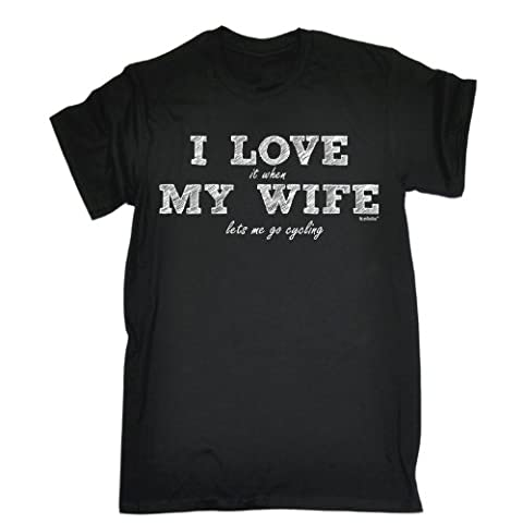 I LOVE IT WHEN MY WIFE LETS ME GO CYCLING (M - BLACK) NEW PREMIUM LOOSE FIT T-SHIRT - slogan funny clothing joke novelty vintage retro t shirt top men's ladies women's girl boy men tshirt tee t-shirts anniversary wife marriage golden silver wifey misses cycle bike race competition racing helmet pedal pro professional moutain freestyle bmx tricks freelance for him her brother sister mum dad birthday ideas gifts christmas present gift S, M, L, XL, 2XL, 3XL, 4XL, 5XL - by