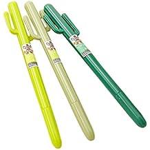 JUNGEN 2x Pluma de Cactus Bolígrafo de Creativo Verde, Diseño creativo Pluma de gel, decoraciones de moda para la oficina