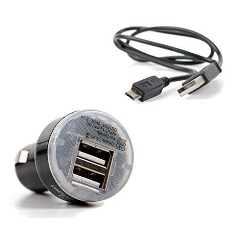 DURAGADGET Ladekabel mit Micro-USB und Auto-Ladestecker mit DUAL-USB für SWISSTONE SC 700 Smartphone -