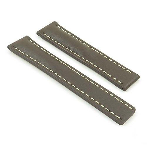 dassari G5braun W/weißen Nähten italienischem Leder Armbanduhr Band für Tag Heuer W/Deployment Größe 22mm 22/18