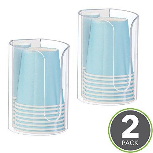mDesign Pappbecher-Spender für Zahnputzbecher - Halter ohne Bohren montierbar - Zahnputzbecher-Set für das Badezimmer - Set aus 2 Becherhaltern - perfekt für Mundspülungen & Co.