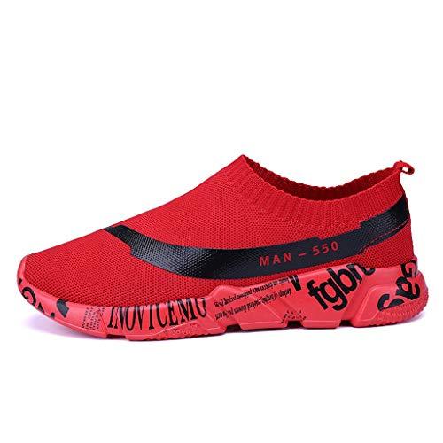 Lilicat Uomo Scarpe Sportive da Ginnastica Leggero Corsa Palestra Running Outdoor Respirabile Mesh Tinta Unita Sport Runing Traspirante con Graffiti in Tinta Unita Sneaker (Rosso,44 EU)