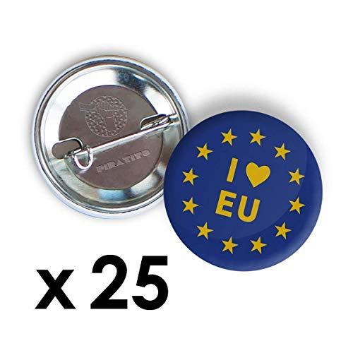 25 x I LOVE EU, Pro Remain, Anti-Brexit Anstecknadel oder Magnete, WÄHLEN SIE AUS 3 GRÖSSEN