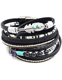 84213a54cba0 bc1856d – Pulsera doble Tour multi-rangs Ecailles brillantes lentejuelas  negro con pluma étnica y piedras…
