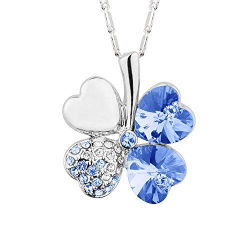 Mianova Damen Kette Halskette Kleeblatt Anhänger mit Swarovski Elements Strass Kristall und Herzen Steinen Vergoldet Silber Hellblau