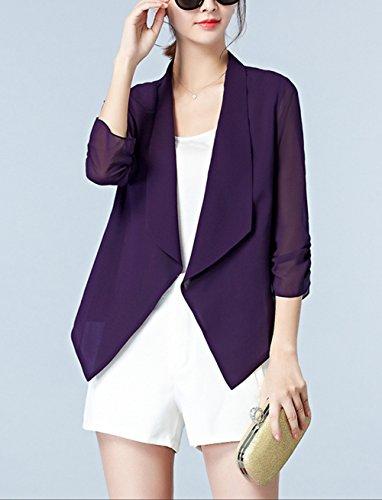 Femme Gilet Cardigan Court Col Revers Manche 3/4 Chiffon Veste Uni Elégante Top Chic Mode Monissy Violet