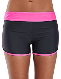 e6669b0527 CharmLeaks Womens Boyleg Swimming Shorts Colorblock Swim Boardshorts Black/ Pink S