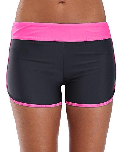 Attraco Damen Elastic Uni Swim Shorts Boyshorts Strand Hose kurz Gr. XX-Large, Red(Colour Block)