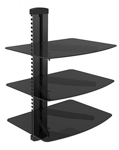 Hifi BluRay / DVD-Player / Receiver / Spielkonsole Wandregal Rack mit Kabelschacht und ESG Sicherheitsglasböden, bis zu 8 kg Tragkraft, schwarz, Anzahl Regalböden:3 Regalböden (I/o-board-montage)