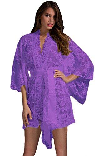 MAYUAN520 V Kragen Seven Point Sleeve Gürtel Spitze Kimono Sexy Pyjamas- Lila, L Kimono Sleeve Baby Doll