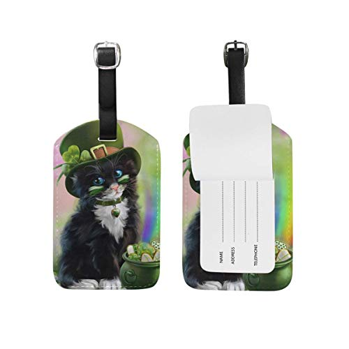 Happy St. Patrick's Day Shamrock Cat Luggage Tags PU Leather Bag Baggage Suitcase Travel Accessories 1 Piece
