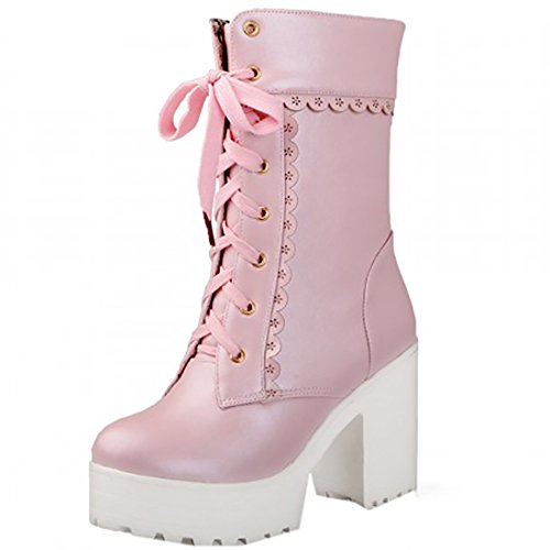 Partiss Damen Sweet Lolita Shoes Suess Lace Boots High-top PU Stiefel Prinzessin College Winter Boots Cosplay Schlupfstiefel Lolita Schnuerstiefel Pink