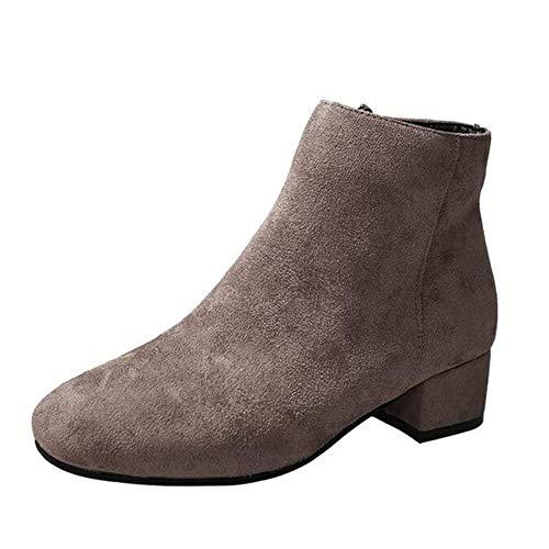 Frauen High Heel Stiefeletten Herbst Innenseite ReißVerschluss Wildleder Baumwollgewebe Quadratische Spitze Niedrig Absatzsocken Stiefel (Stiefel Für 20 Dollar)