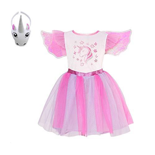 Motto Kostüm Wetter - Mädchen Einhorn-Kleid funkelndes Einhorn Tutu Kostüm Einhorn Motto Geburtstag Party Outfit, Anna0117, Sparkling Unicorn, L7-8