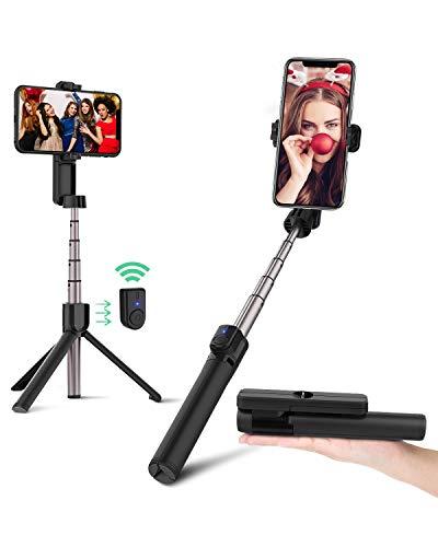 BlitzWolf Bluetooth Selfie Stick Stativ, 86,4cm Mini Erweiterbar Monopod Wireless Selfie-Stange Stab mit Bluetooth Fernbedienung für iPhone 11 Pro/11/XS Max/X/8 Plus/8/7/6, Galaxy S10, Huawei, mehr