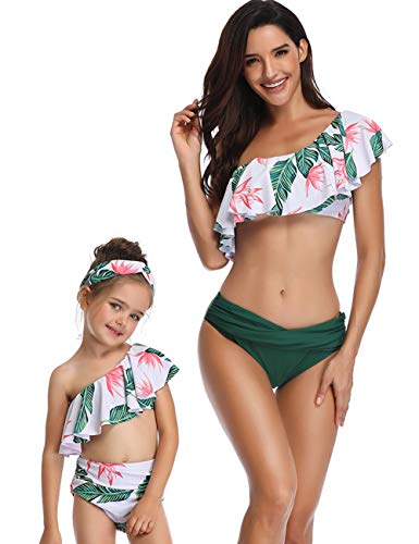 FeelinGirl Madre e Hija Bikini de 2 Piezas Volantes Estampado Floral Bañador Chica de Cintura Alta...