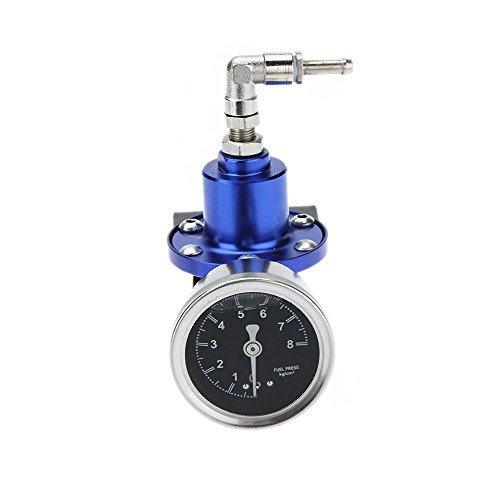 KKmoon Fuel Pressure Regulator Professional High Performance Adjustable Fuel Pressure Regulator with Filled Oil Gauge for Car Auto Test