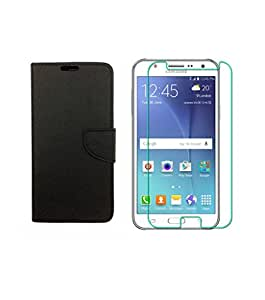 STYLE CASE FLIP COVER BLACK WITH TEMPERED GLASS FOR SAMSUNG GALAXY J7(2016)