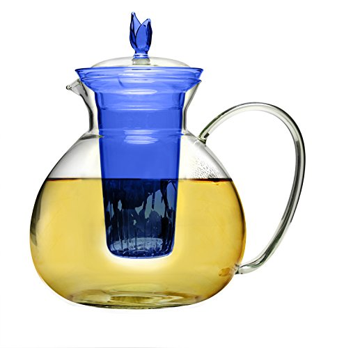 Primula Asha Glas Teekanne, inklusive Teesieb und Deckel mit 2Teerosen, 1770ML, Transparent -