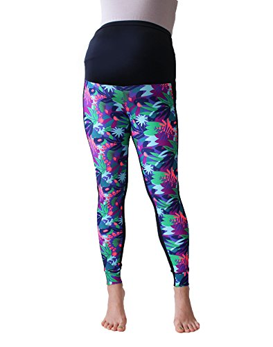 Mia maternity Damen Leggings sport club print Large (L) Tropisches Muster