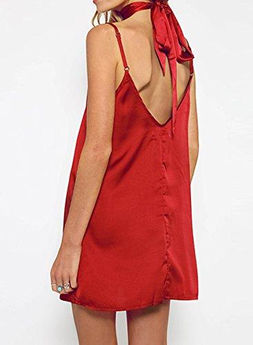 Futurino - Robe - Tunique - Uni - Sans Manche - Femme Rouge