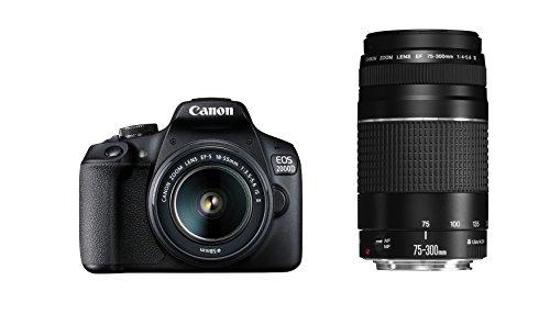 dslr wlan Canon EOS 2000D Spiegelreflexkamera mit dem Objektiv EF-S 18-55 IS II + 75-300 DC Kit