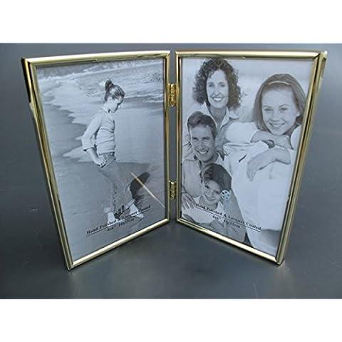 Cornice portafoto cornice doppia in ottone–singoli, dimensioni 16x 10cm - Cornice In Ottone