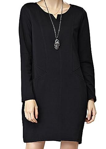 Luna et Margarita Damen kurze schwarze Kleid mit Langarm und