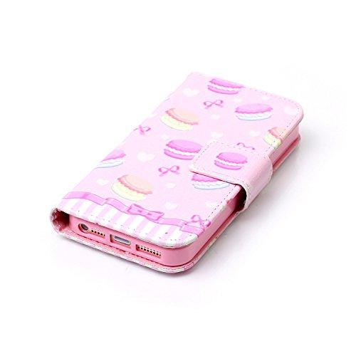 Voguecase Pour Apple iPhone 5 5G 5S SE Coque, Étui en cuir synthétique chic avec fonction support pratique pour iPhone 5S (Campanula plume 12)de Gratuit stylet l'écran aléatoire universelle Macaron 04
