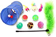 Cat Toys Kitten Toys Assortments, Variety Pack for Cat Tunnel, Bell Crinkle Balls, Feather Wand, Cat Teaser To