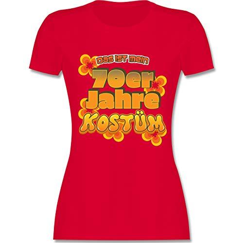 Karneval & Fasching - Das ist Mein 70er Jahre Kostüm - M - Rot - L191 - Damen Tshirt und Frauen T-Shirt