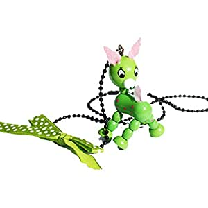 Cute Wooden Green Deer Necklace on the black ball chain