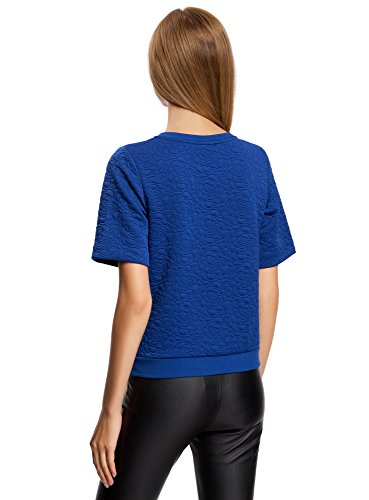 oodji Collection Damen Texturierter Sweatshirt Kurzärmelig Blau (7500N)