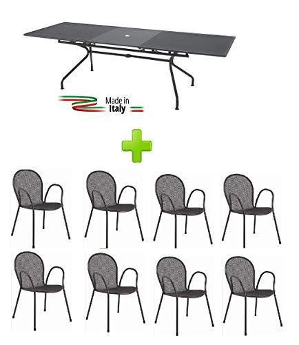 Emu Table Extensible pour extérieur modèle Athena marquage Mesure 160 + 50 x 90H cm - Couleur Fer Ancien + 8 fauteuils Ronda avec accoudoir - Fabriqué en Italie