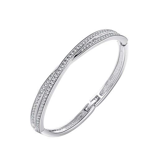 CHANGEABLE Damen Armband Glitzer 18K Weiß Golden mit Swarovski Kristall Armreifen Rund 0,3cm Länge 19CM