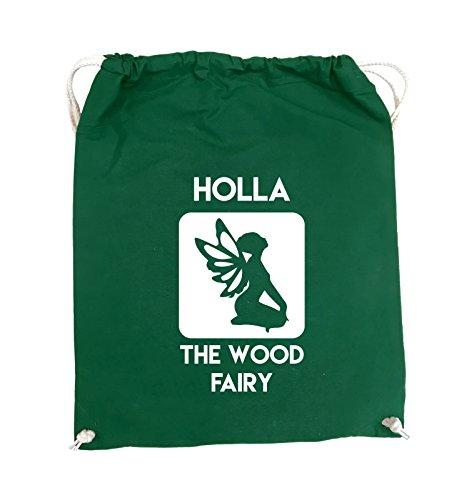 Comedy Bags - HOLLA THE WOOD FAIRY - Turnbeutel - 37x46cm - Farbe: Schwarz / Silber Grün / Weiss