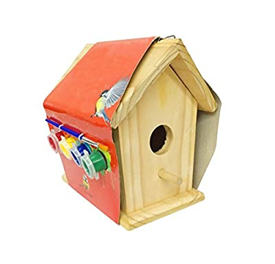Funmate Paint Your Own Wooden Bird House Real Solid Wood Deluxe Bird House by Funmate