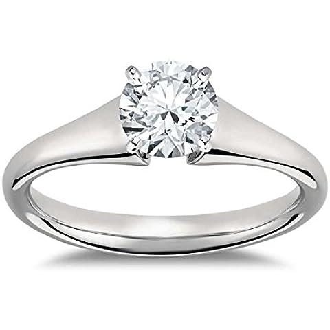 Lilu Jewels 1/2ct. T.W. forma rotonda Moissanite anello di fidanzamento in argento Sterling 925