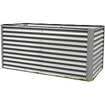 DeTec Set Metall Hochbeet Rosendaal gr/ün 99x99x80 cm inkl Alu Fr/ühbeet 100x100 cm hoher UV Schutz Gute W/ärmed/ämmung