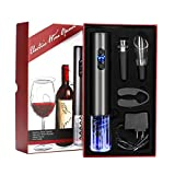 YOMYM Cavatappi Elettrico Apri Bottiglie Senza Filo, 2 Pezzi Include l'Apri Vino Automatico, Apri Vino a Pressione d'Aria, Tappi Sottovuoto (2 Pezzi),Taglierina, Versatore Aeratore del Vino