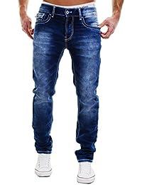 MERISH Jeans Hommes Coutures épaisses Straight Fit delavé stone Modell J1708
