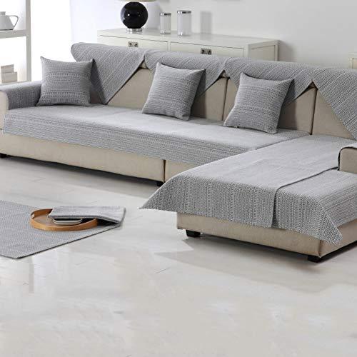 DW&HX Estilo Americano Algodón y Lino Toalla de sofá,Sofá Fundas para sofá de Cuero Protector de Cama para Perro -Gris 28x83inch(70x210cm)