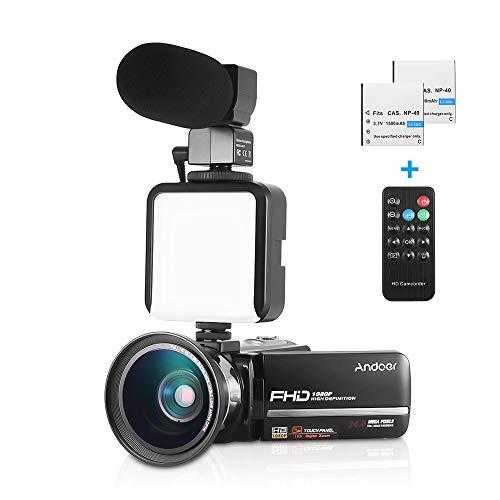 Andoer 1080p fhd videocamera digitale 16x zoom digitale schermo tattile lcd da 3,0 pollici + extra 0,39 x obiettivo grandangolare + microfono esterno + mini luce led esterna