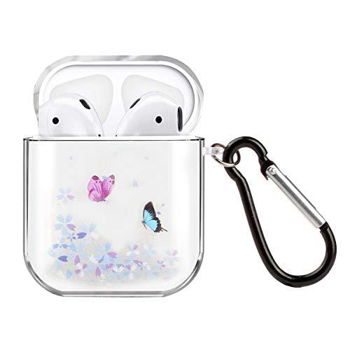 Funluna Hülle kompatibel mit Apple AirPods 2 & AirPods 1, Kristallklar Silikonhülle Abdeckung Haut mit Karabiner, LED an der Frontseite Sichtbar/Unterstützt kabelloses Laden, Schmetterling