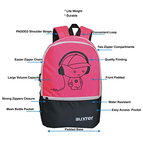 AUXTER Polyester 33 Litre Pink School Backpack Image 2