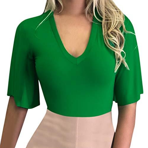 Andouy Damen Top T-Shirt Flare Kurzarm V-Ausschnitt, festes Hemd Größe 36-42 Stilvolle, sexy Feste Bluse(L(40),Grün)